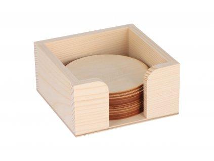 Drevený zásobník s okrúhlými podtáckami 10 ks