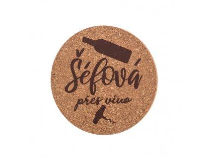 Korkový podtácok - šéfka na víno