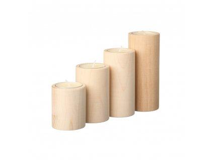 Súprava 4 valcovitých svietnikov
