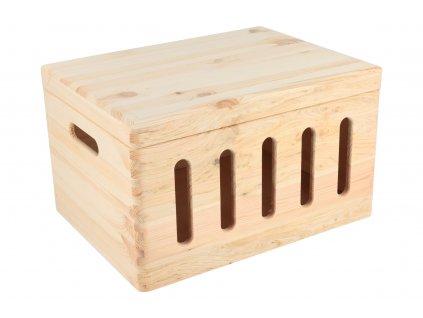 Drevený box s výrezmi a viekom 40 x 30 x 23 cm