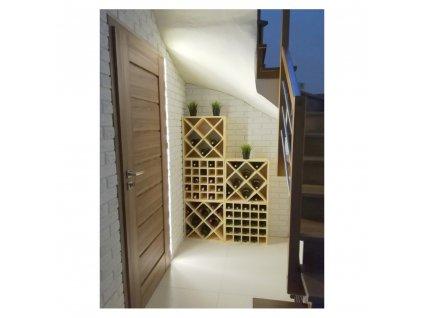 Drevený regál na víno mriežky 52 x 52 x 25 cm - 1 ks