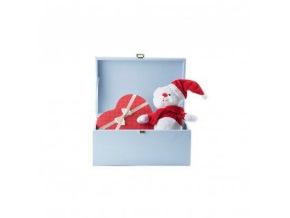 Dřevěná truhla 35x25x18,5 cm - světle modrá