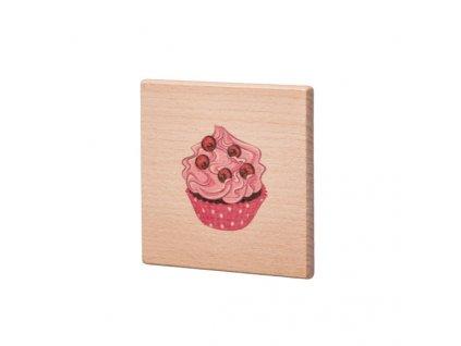Drevený podtácok - Růžový muffin