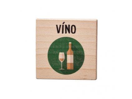 Drevený podtácok - Víno