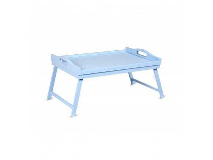 Drevený rozkladací tác - svetlo modrý