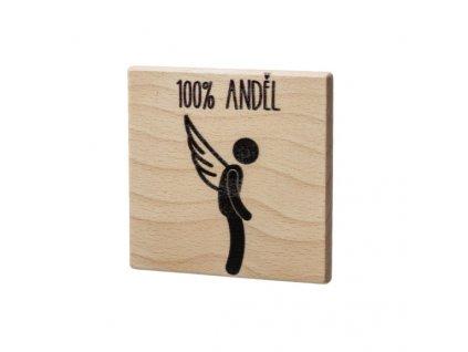 Drevený podtácok - 100% Anděl