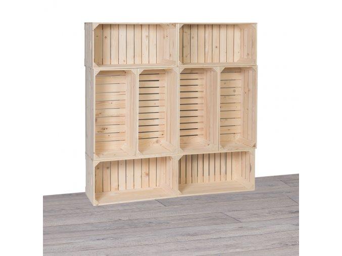 Drevené debničky knižnica 120x120x24 cm