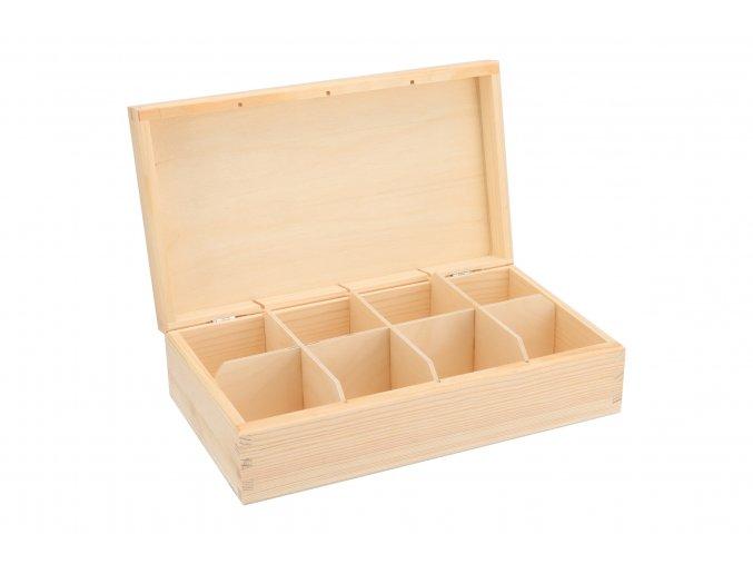 Drevená krabička na čaj (8 priehradiek)