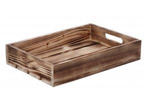 Opálená drevená debnička 32 x 22 x 6 cm