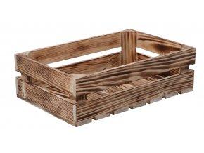 Opálená drevená debnička 40 x 26 x 12 cm