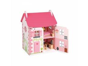 Drevený domček pre bábiky - 11 ks nábytku