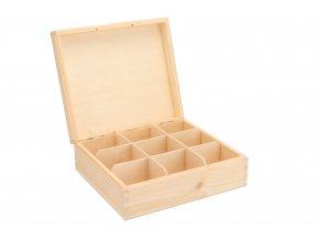 Drevená krabička na čaj (9 priehradiek)