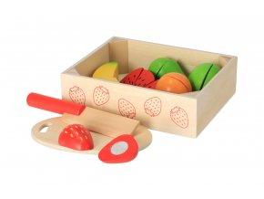 Dřevěné krájecí ovoce v krabičce