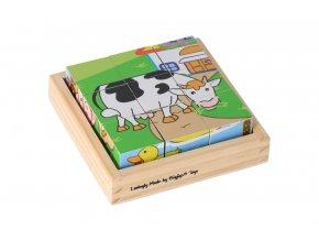 Dřevěné obrázkové kostky - zvířátka