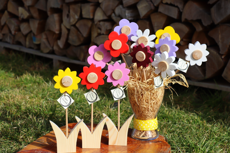 Dřevěná květina slunečnice