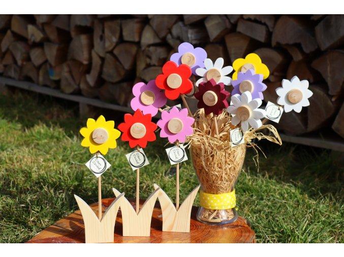 Dřevěná květina - slunečnice/kopretina/kytička