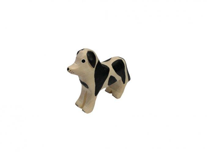 Dřevěné zvířátko pes stojící černý 001