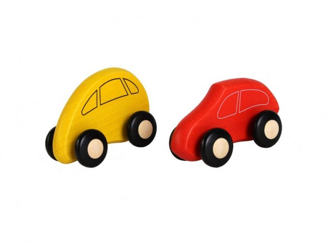 Dřevěné autíčka SADA red/yellow