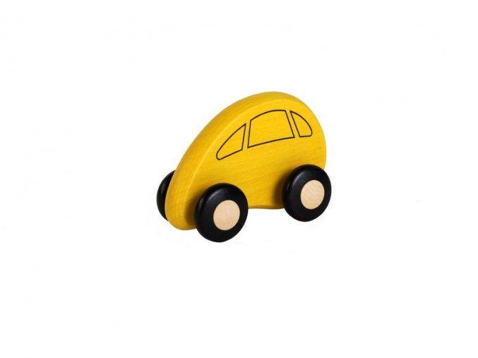 žluté drevene auto