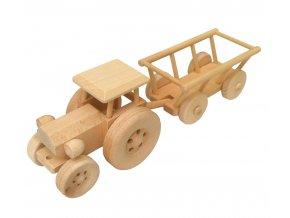 Dřevěný traktor s vlečkou JOHN TRAIN