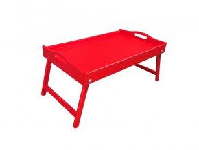 Dřevěný stolek do postele 50x30 cm červený