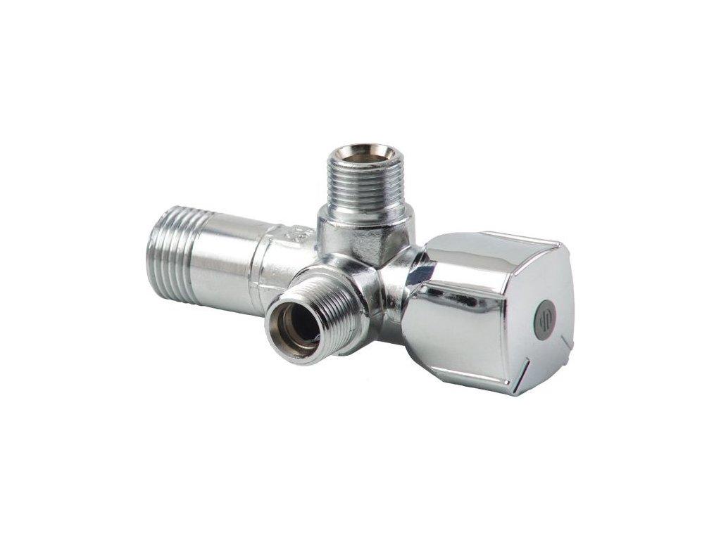 ARCO kombinovaný rohový ventil A-80 se dvěma vývody 1/2'x3/8'x3/8', anticalc A80 TWIN MAC