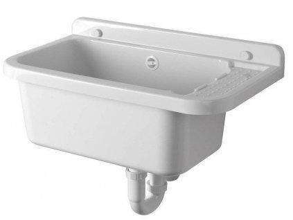 Závěsná výlevka s odkládací plochou 60x34cm, plast, bílá PI5060