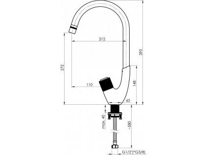 Olsen Spa Dřezová baterie SWAN-33 - Barva černá matná OLBASW0168