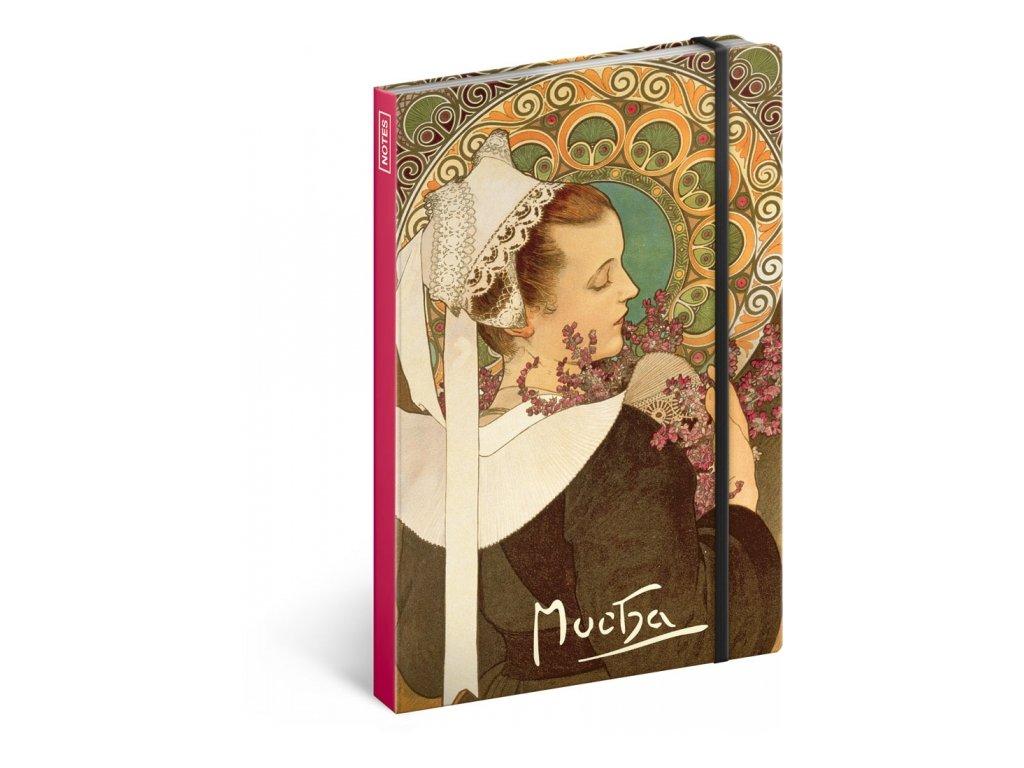 Notes Alfons Mucha – Vřes, nelinkovaný, 13 x 21 cm