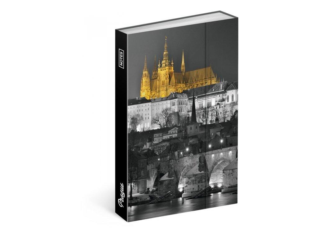 Notes Magnetický Praha, linkovaný, 10,5 x 15,8 cm