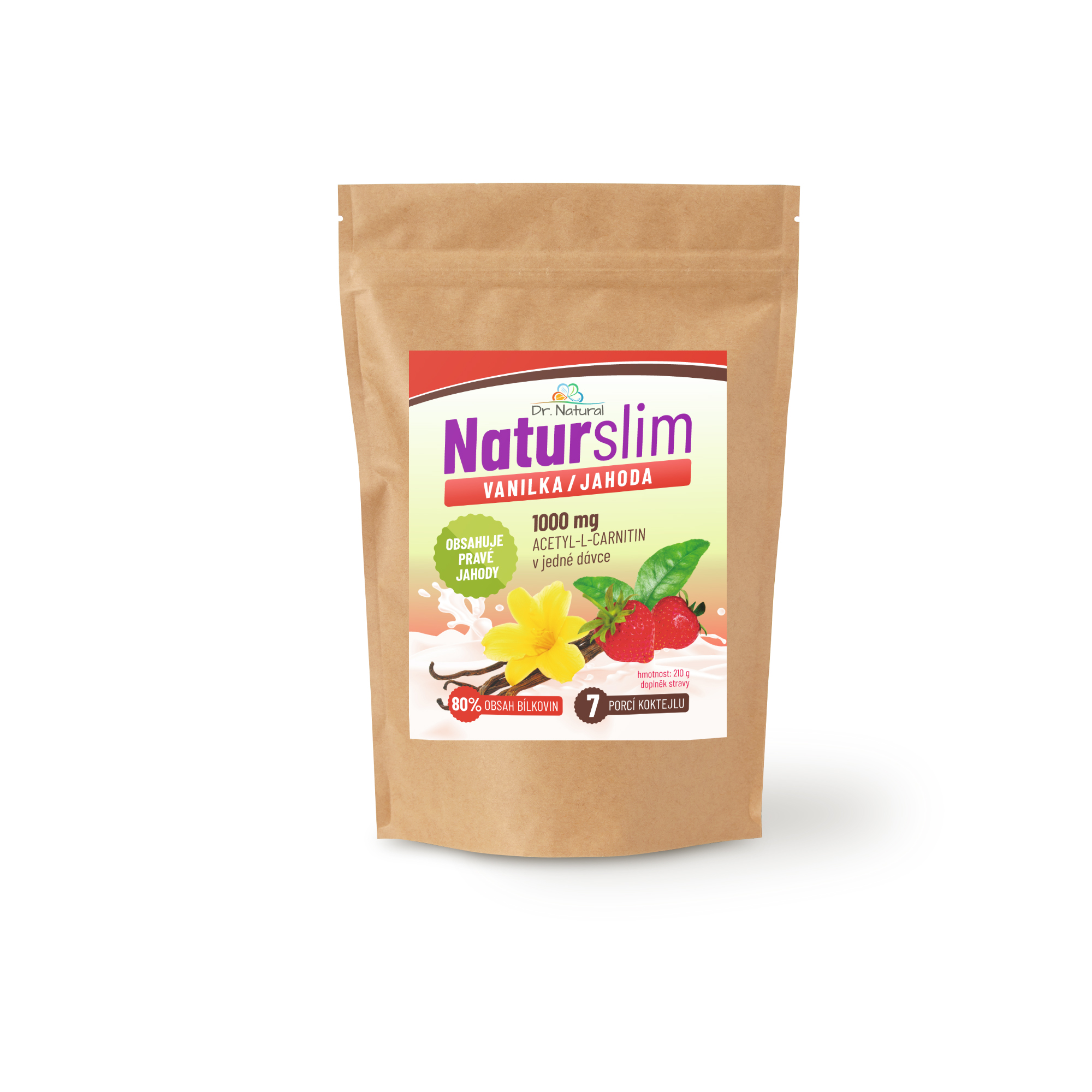 Dr.Natural NaturSlim vanilka jahoda 210g
