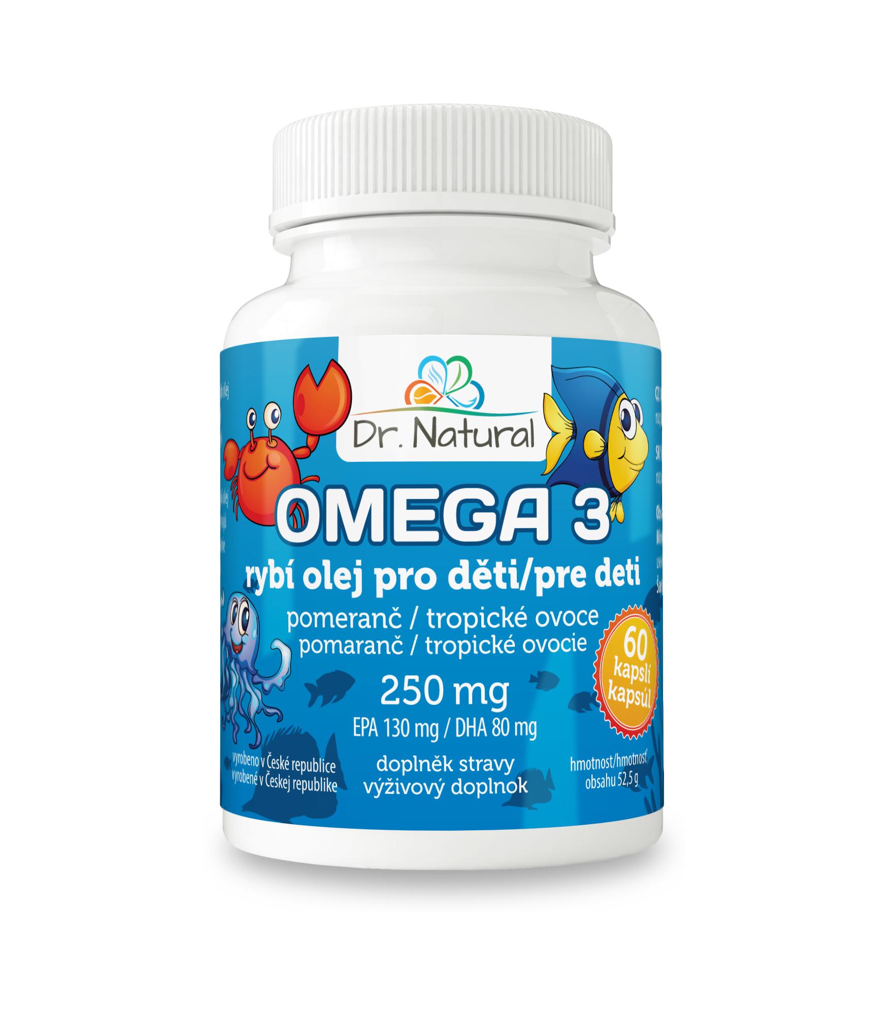 Dr.Natural Omega 3 Rybí olej pro děti 250mg EPA130mg/DHA80mg 60 cps.