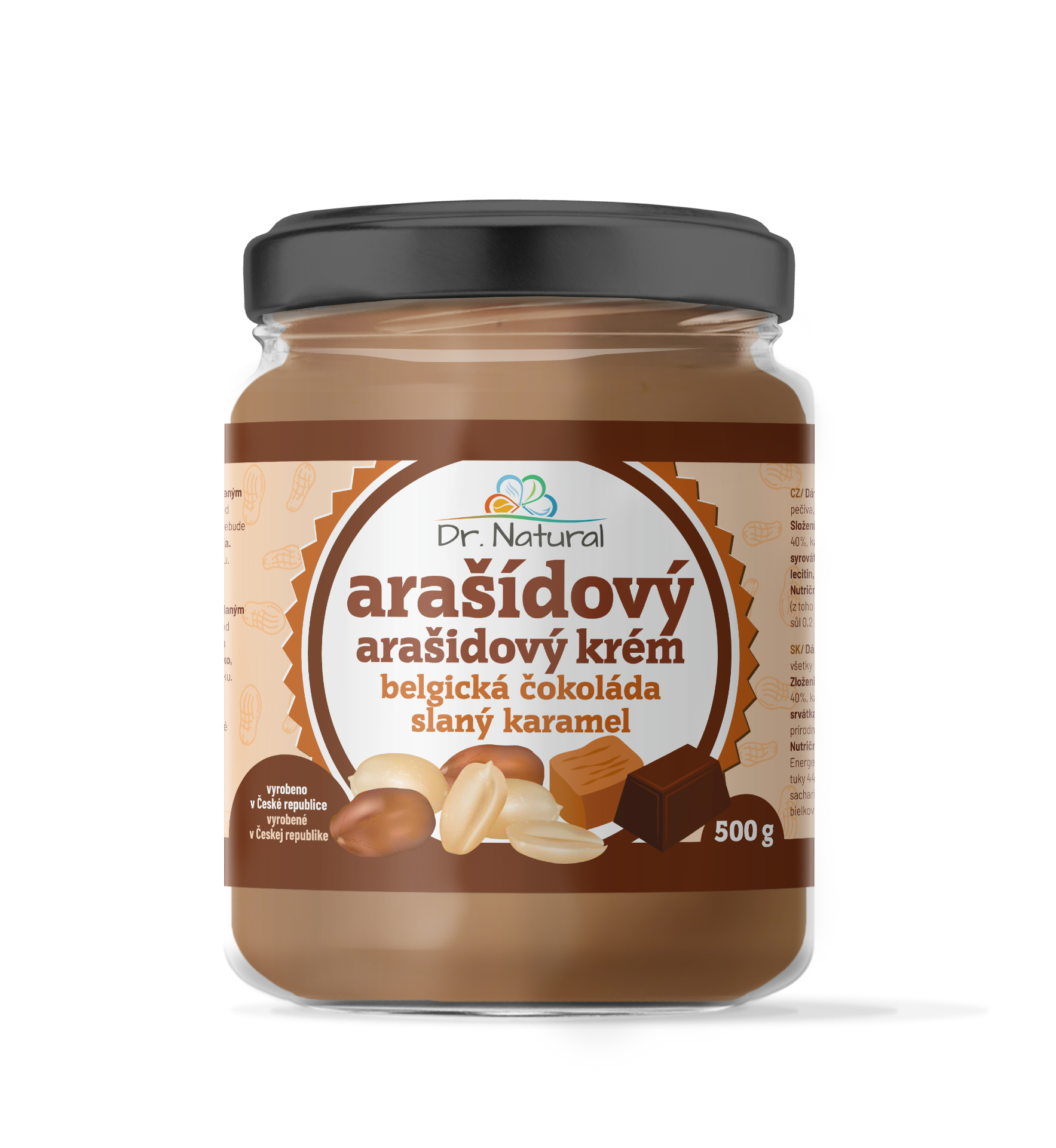 Dr.Natural Arašídový krém belgická čokoláda slaný karamel 500g