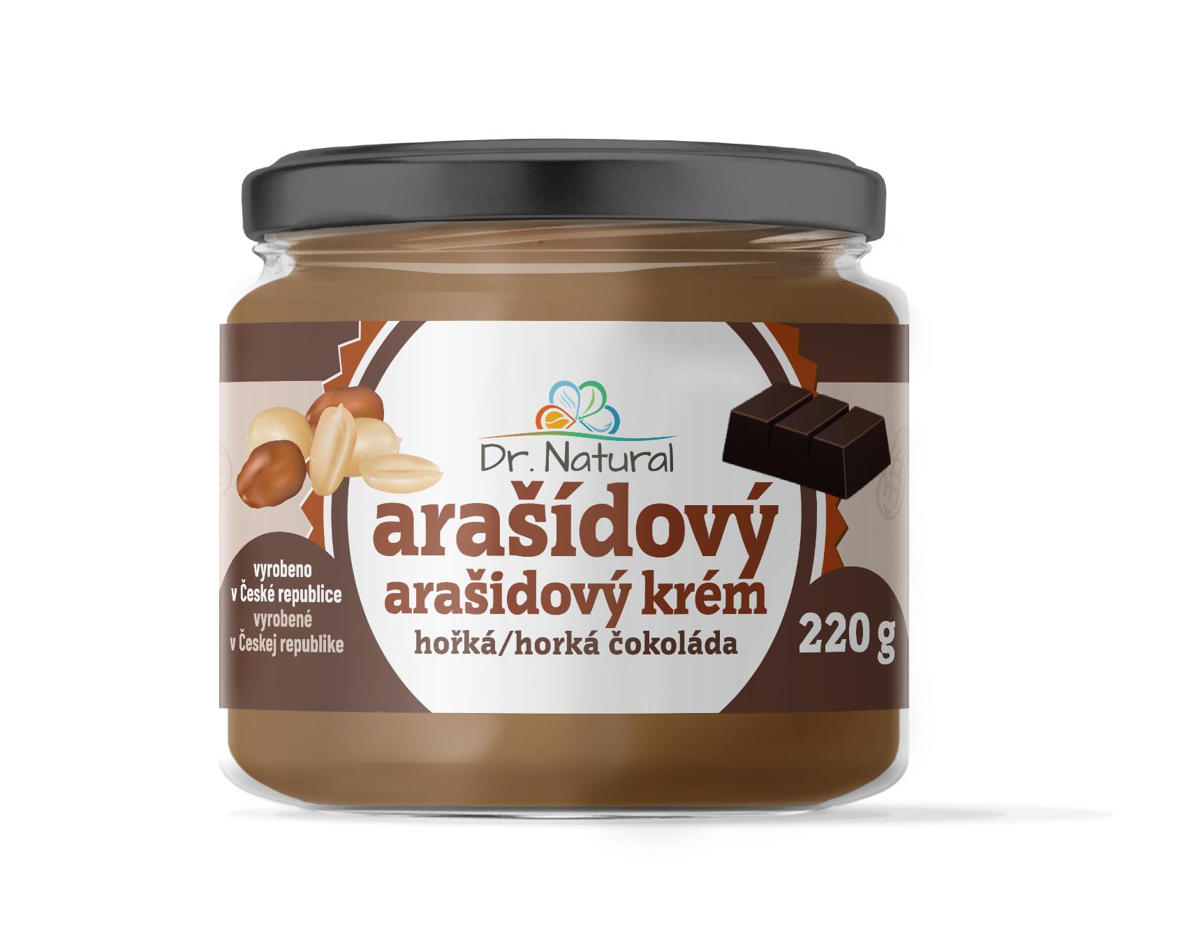 Dr.Natural Arašídový krém s hořkou čokoládou 220g