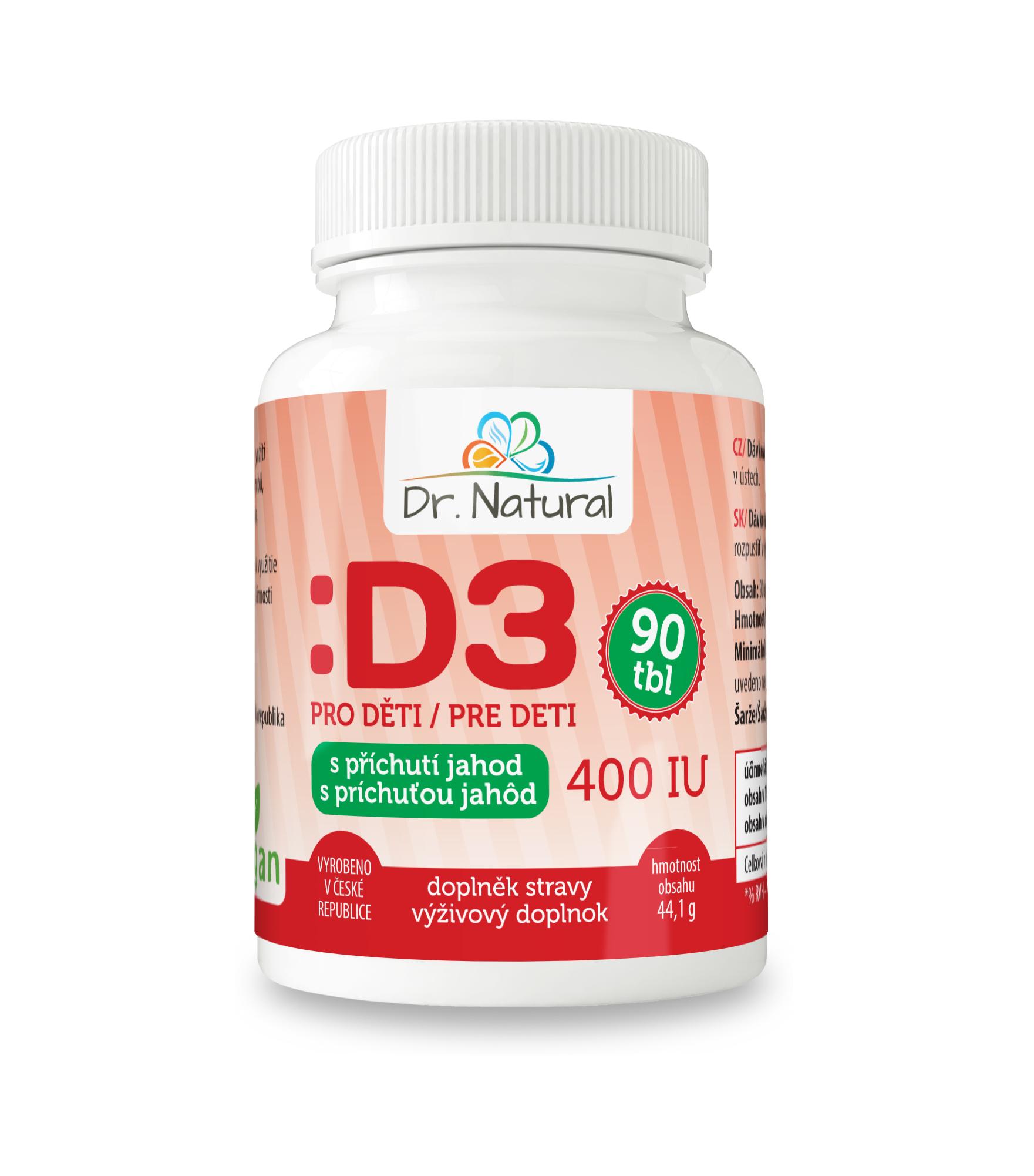 Dr. Natural Vitamín D3 pro děti 400 IU 90 tbl. s příchutí jahod