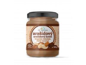 DR NATURAL sklenicka ARASIDOVE MASLO belgicka cokolada slany karamel 500g VIZUAL