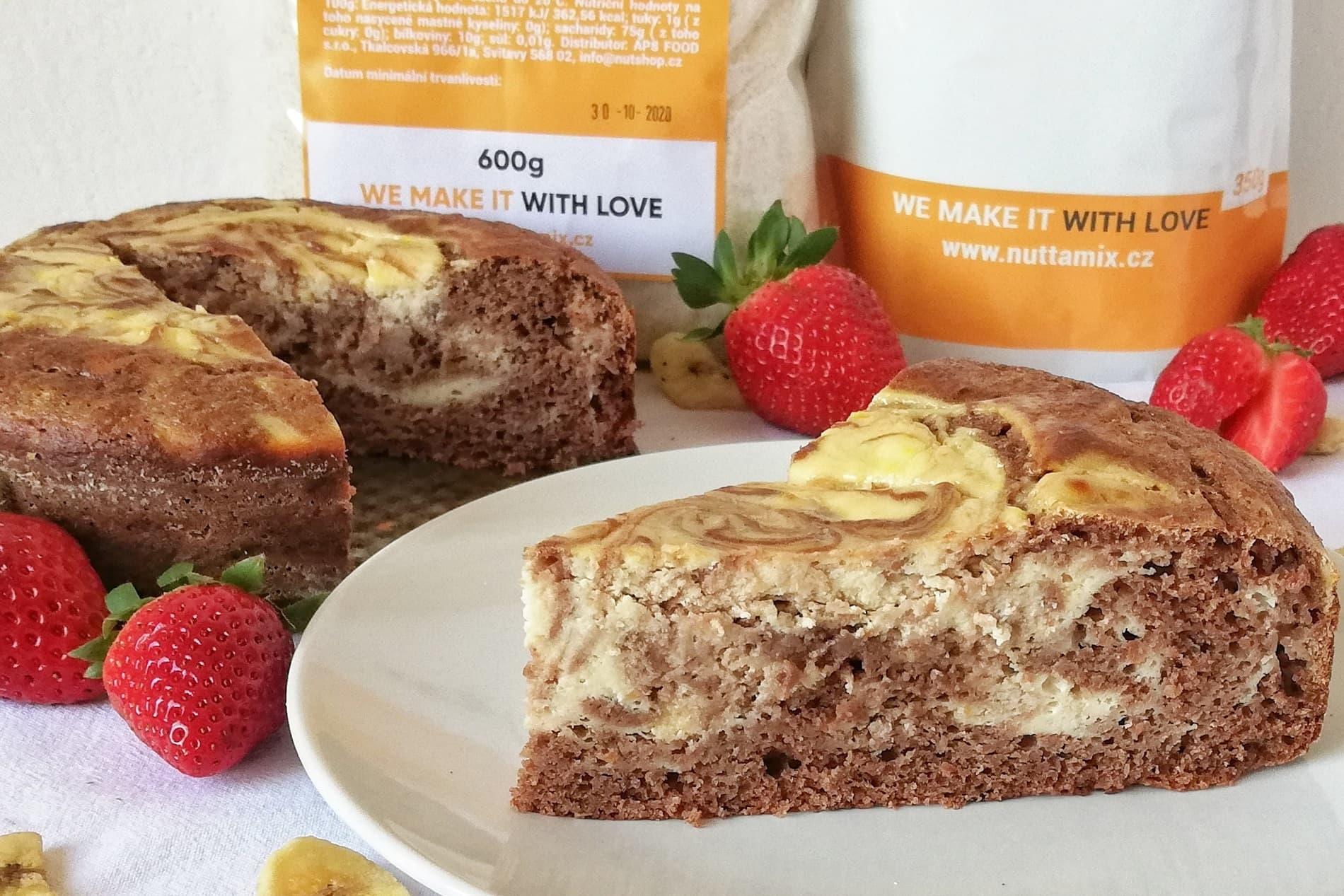 Recept: Mramorový koláč s proteinem ze špaldové mouky.
