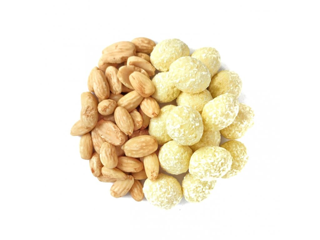 mandle v bile cokolade a kokosu nuttamix