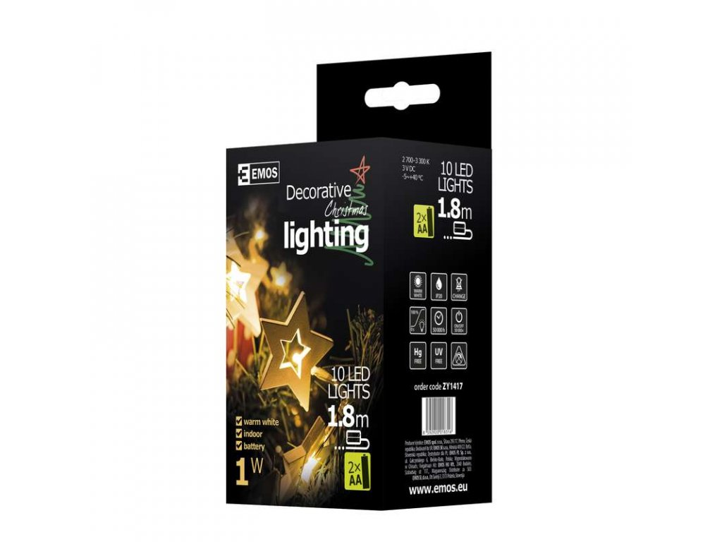 EMOS Lighting LED girlanda - hvězdy dřevěné, 1,5m, teplá bílá ZY1417