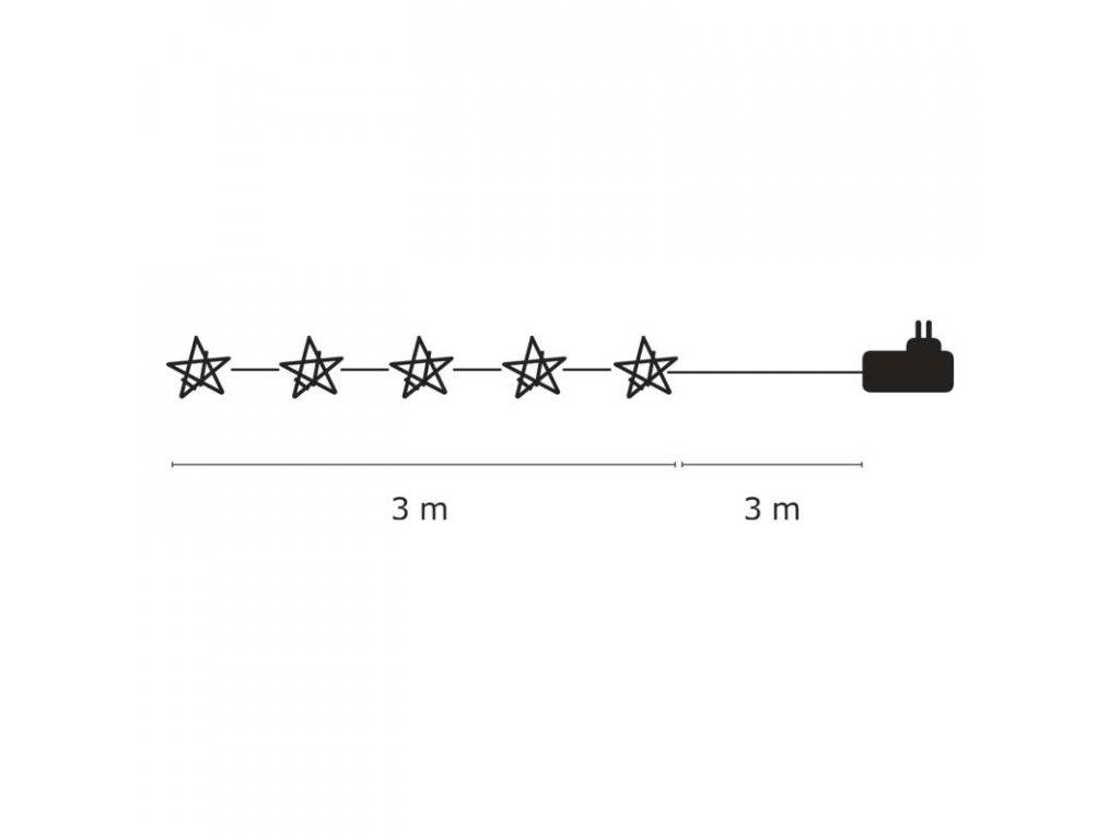 EMOS Lighting LED girlanda - hvězda, 3m, IP20, teplá bílá ZY1403