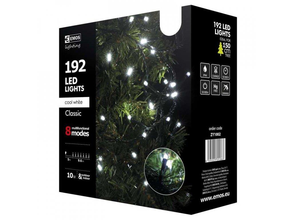 EMOS Lighting 192 LED řetěz, 9,6m, studená bílá, programy ZY1002