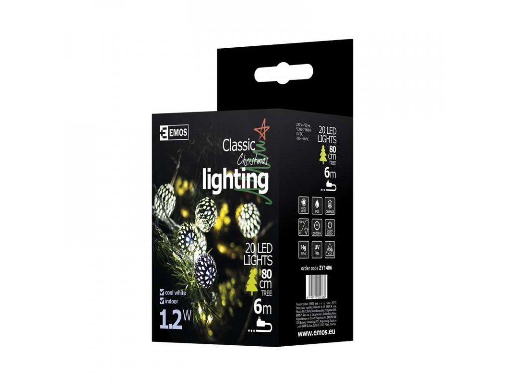EMOS Lighting LED girlanda - stříbrné koule, 3m, IP20, studená bílá ZY1406