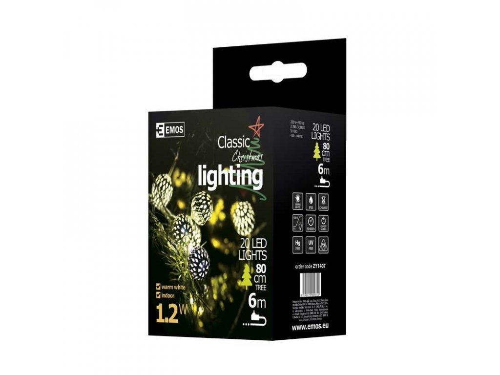 EMOS Lighting LED girlanda - stříbrné koule, 3m, IP20, teplá bílá ZY1407