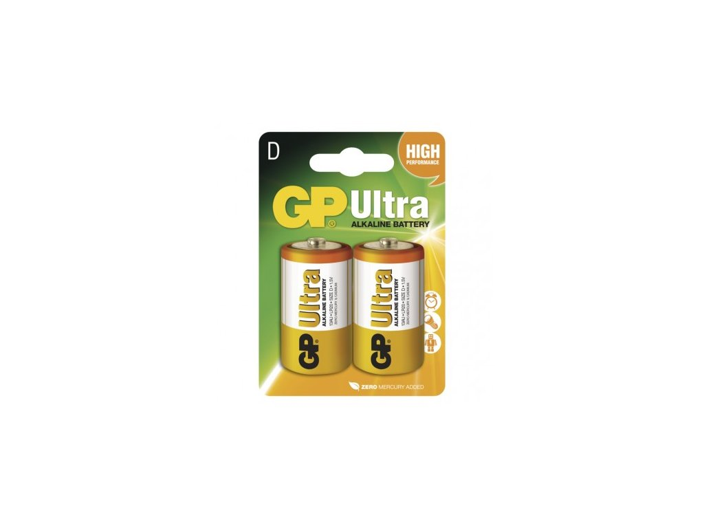 Alkalická baterie GP Ultra D (LR20) 2ks 1014412000