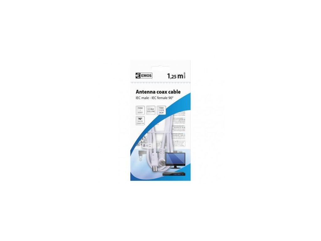 EMOS Anténní koaxiální kabel stíněný 1,25m - úhlová vidlice SD3101