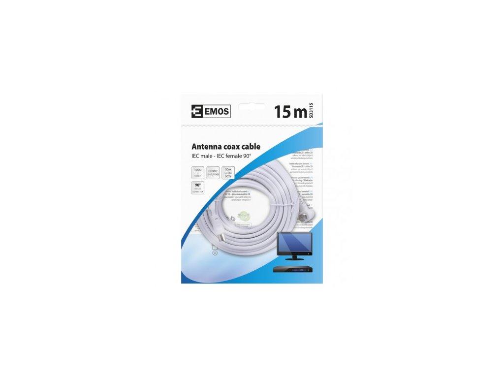 EMOS Anténní koaxiální kabel stíněný 15m - úhlová vidlice SD3115