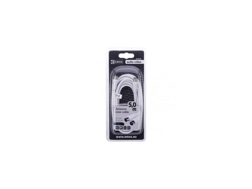 EMOS Anténní koaxiální kabel stíněný 5m - rovné vidlice SB3005
