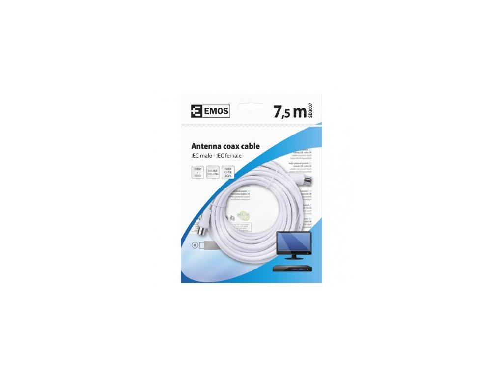EMOS Anténní koaxiální kabel stíněný 7,5m - rovné vidlice SD3007