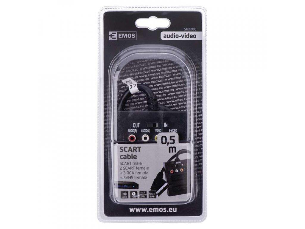 EMOS AV kabel SCART - 2x SCART + 3x CINCH + 1x SVHS 0,5m SB2200