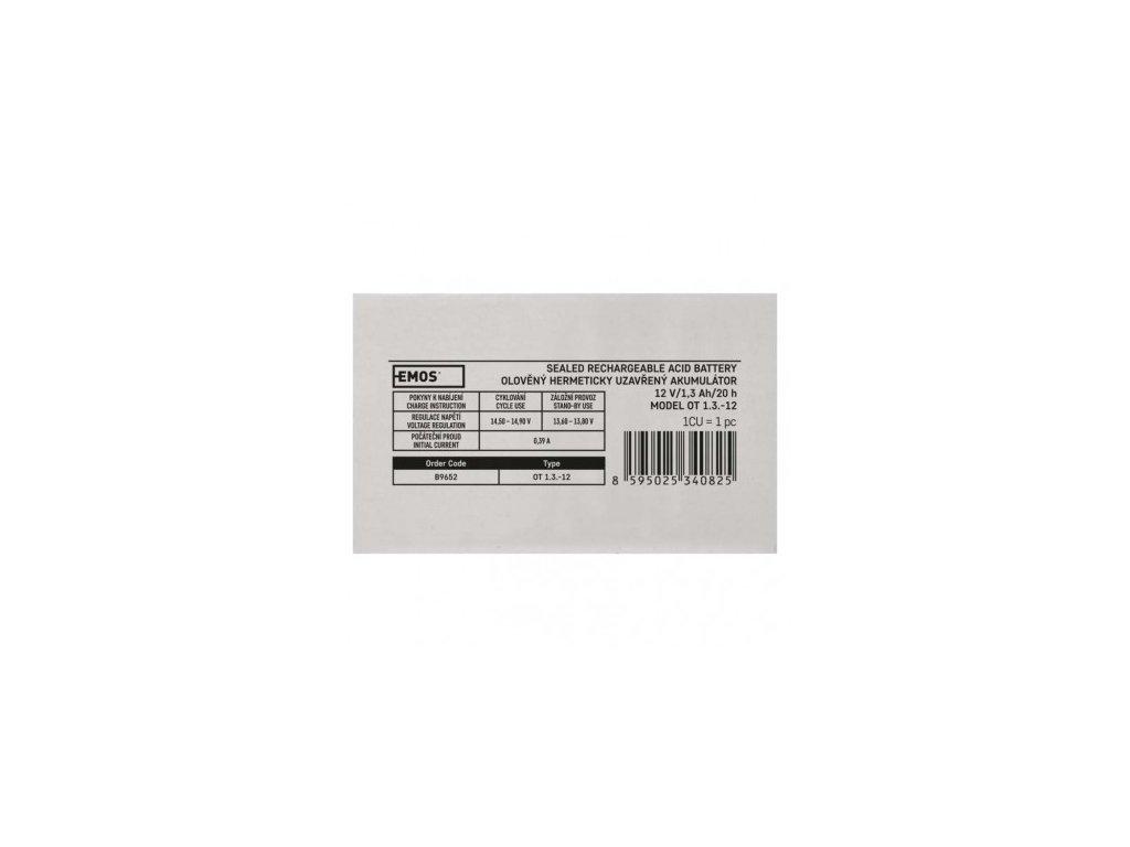 EMOS Bezúdržbový olověný akumulátor 12 V/1,3 Ah, faston 4,7 mm B9652